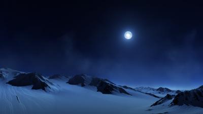 Full moon, Night sky, Snow covered, Foggy, Landscape, Twilight