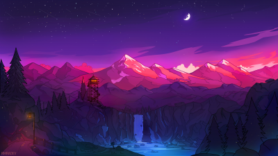 Glacier mountains, Waterfall, Watch Tower, Moon, Night time, Starry sky, Snow covered, Digital Art, Purple, Landscape, Scenery
