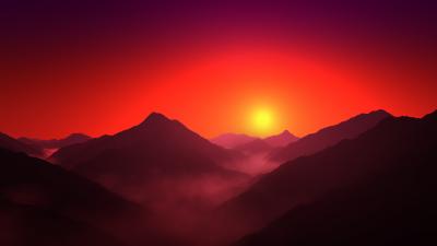 Mountain range, Silhouette, Sunrise, Orange sky, Foggy, Landscape, Scenery