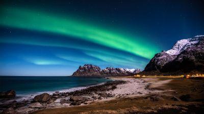 Lofoten islands, Norway, Aurora Borealis, Northern Lights, Glacier mountains, Snow covered, Rocky coast, Ocean, Beach, Horizon, Starry sky, Night time, Landscape