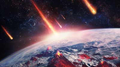 Meteorite fall, Apocalypse, Starry sky, Outer space, Astronomy