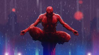 Daredevil, Marvel Comics, Digital Art, Illustration, Rain, Superheroes