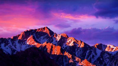 macOS Sierra, Glacier mountains, Snow covered, Alpenglow, Cloudy Sky, Sunlight, Dusk, Landscape, Scenery, 5K