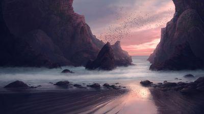 Beach, Rocks, Sunset, Birds, Long exposure, Landscape, Seaside, Scenery, Digital Art, 5K
