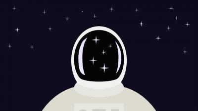 Astronaut, Spaceman, Suit, Digital Art, Purple background, Stars, Dark background