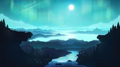 Aurora Borealis, Moon, River, Digital Art, Mountains, Star Trails, Landscape, Scenery