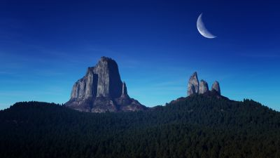 Mountain Peaks, Crescent Moon, Night time, Blue Sky, Landscape, Forest