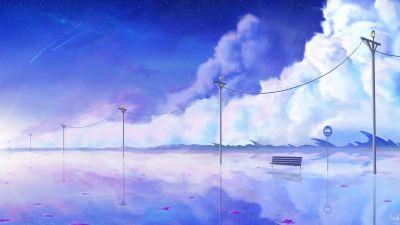 Bus Stop, Street lights, Cloudy Sky, Illustration, Reflection, Stars, 5K