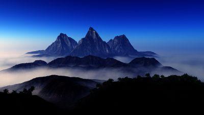 Mountain Peaks, Foggy, Aerial view, Blue Sky, Landscape, Scenery