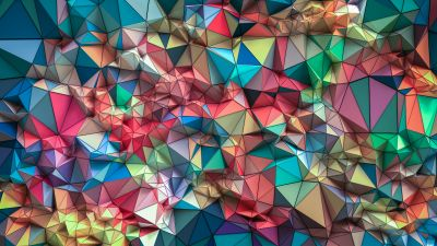 Triangles, 3D background, Colorful, Shapes, Geometric