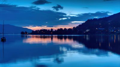 Tegernsee Lake, Bavarian Alps, Germany, Sunset, Silhouette, Reflections, Blue, Body of Water, Clam, Aesthetic