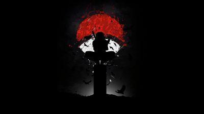 Itachi Uchiha, Naruto, AMOLED, Black background, Minimal art, Silhouette
