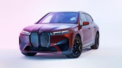 BMW iX xDrive50 Sport, 2022, White background, 5K
