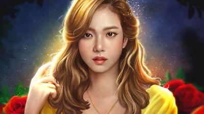 Jisoo, Blackpink, Artwork, Girly backgrounds, K-Pop singer, Korean singers
