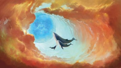 Whales, Baby whale, Mural, Artwork, Surreal