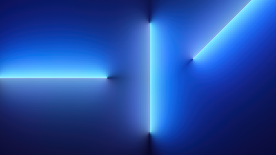 iPhone 13 Pro, iOS 15, Stock, Blue background, Neon Lights, Glowing lights, iPhone 13 Pro Max, Aesthetic