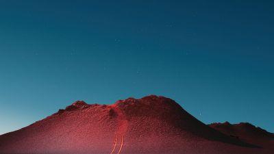 Peak, Mi Pad 5 Pro, Mountains, Blue sky, Night sky, Starry sky, Desert, Sunset, Night, Stock