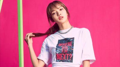 Lisa, Blackpink, Pink background, K-Pop singer, Korean singers