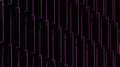 Purple light, Illustration, Pattern, Black background, Lines, 5K