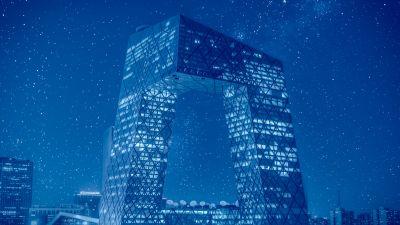 CCTV headquarters, Beijing, China, Modern architecture, Starry sky, Metropolis, Glass building