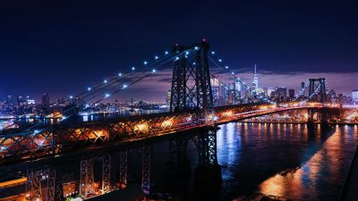 Williamsburg Bridge, New York City, Skyline, Metal structure, Night time, Cityscape, City lights, Body of Water, Suspension bridge, 5K
