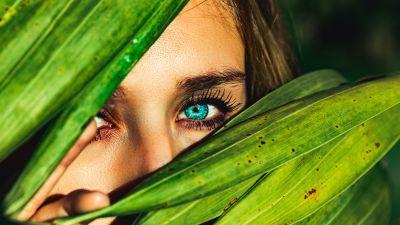 Blue eyes, Green leaves, Woman face, Macro, Peek, 5K
