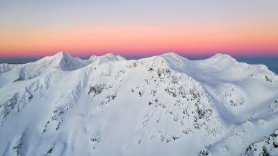 Fagaras Mountains, Romania, Mountain Peak, Snow covered, Winter, Sunset, Landscape, Scenery, 5K