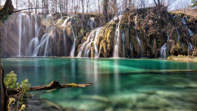 Plitvice Lakes, Croatia, Waterfall, Landscape, Long exposure, 5K