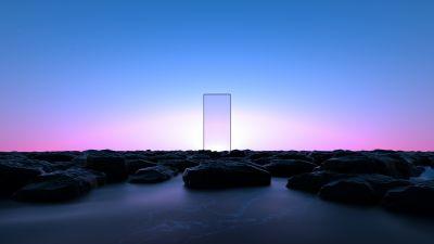 Glass, Clear sky, Transparent, Blue Sky, Pink, Rocks, Landscape, Scenic
