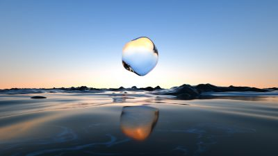 Glass, Droplet, Surreal, Transparent, Body of Water, Scenic, Clear sky, Reflection