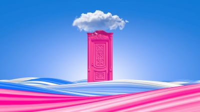 Pink door, Clouds, Waves, Colorful, Blue Sky, Bliss, Surreal