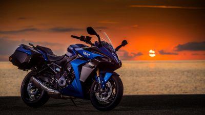 Suzuki GSX-S1000GT, Sports bikes, 2022, Sunrise, Beach, 5K, 8K