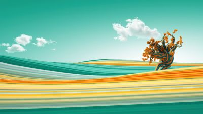 Lone tree, Clouds, Waves, Colorful, Bliss, Surreal