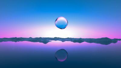 Droplet, Transparent, Landscape, Sunrise, Clear sky, Pink, Blue Sky, Reflection, Body of Water