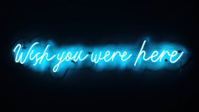 Wish you were here, Love quotes, Missing quotes, Sad quotes, Mood, Neon, Black background, Glowing