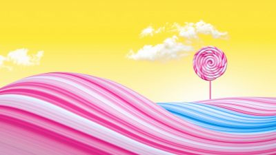 Lollipop, Pink, Yellow background, Yellow sky, Clouds, Waves, Colorful, Bliss, Surreal, Girly