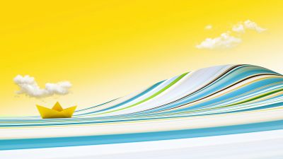 Paper boat, Yellow background, Yellow sky, Clouds, Waves, Colorful, Bliss, Surreal