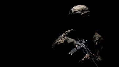 Soldier, Military, Machine gun, War, Silhouette, Black background, 5K