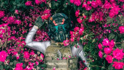 Suit, Mask, Armor, Extinction, Flowers, Floral, Lying down, Aerial view, 5K