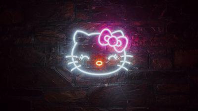 Hello Kitty, Neon sign, Cute, Glowing, Dark background, Night, Neon, 5K