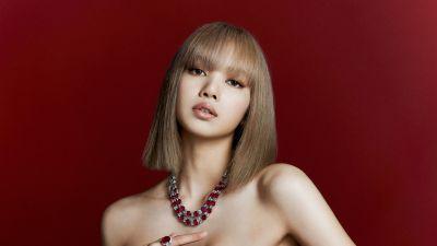 Lisa, Blackpink, Red background, South Korean Singer, K-Pop singer