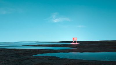 Chair, Dream, Turquoise, Clear sky, Scenic, Surreal, Pink, Minimal