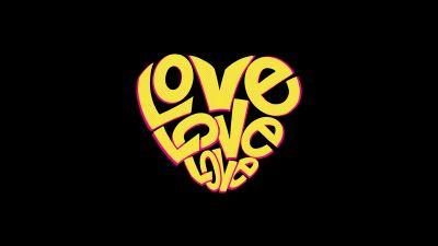 Love word, Love heart, Black background, Yellow
