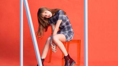 Lisa, Blackpink, K-Pop singer, South Korean Singer, Orange background, Fashion, 2021, 5K, 8K