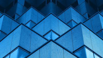 Modern architecture, Building, Office, Geometric, Blue background, Symmetric