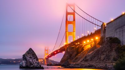 Golden Gate Bridge, San Francisco, Sunset, Lights, California, Pink sky, Foggy