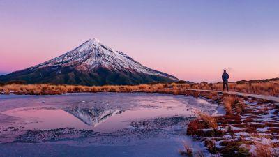 Mount Taranaki, New Zealand, Snow covered, Frozen lake, Reflection, Mountain Peak, Landscape, Scenery, Clear sky, Dusk, 5K