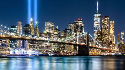 911 Memorial, Tribute in Light, September 11, Spotlight, Night time, Cityscape, Bridge, City lights, 5K