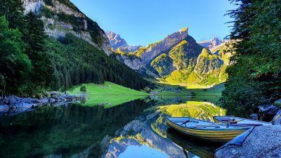 Seealpsee lake, Switzerland, Rowing boat, Mirror Lake, Mountain Peak, Reflection, Blue Sky, Lakeside, Landscape, Scenery, Early Morning, 5K