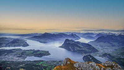 Lake Lucerne, Switzerland, Swiss Alps, Aerial view, Mountain range, Horizon, Snow covered, Landscape, 5K